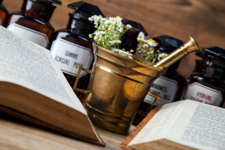 ancient books: The ancient natural medicine, herbs,  medicines and old book