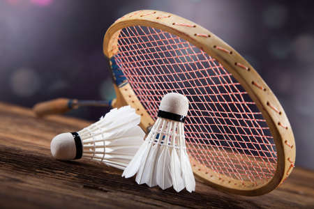 badminton racket: A set of badminton. Paddle and the shuttlecock. Studio shot Stock Photo