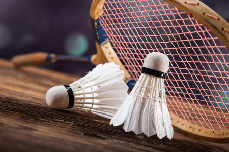 badminton: A set of badminton. Paddle and the shuttlecock. Studio shot Stock Photo