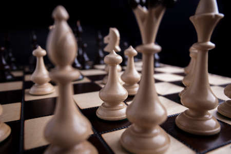 chess board: Chess pieces showing the competition, in business and game