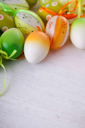 easter eggs: Easter eggs in white background, copyspace! Stock Photo