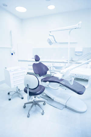 dental practice: Modern dental practice. Dental chair and other accessories used by dentists.