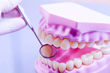 medical professional: Professional dental tools in a sterile medical light