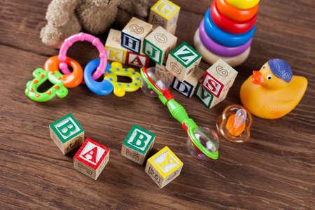 Children\'s World Toy On A Wooden Background. Studio Shot] Stock ...