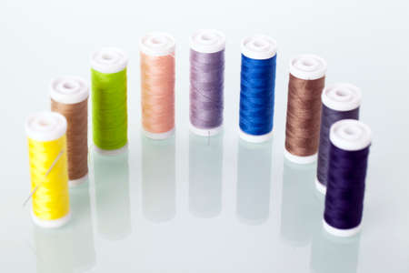 Sewing threads isolated on white background. Studio Shot