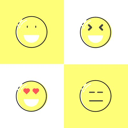 Fall in love emoticon, grinning squinting face, expressionless face, grinning face with big eyes using mbe style