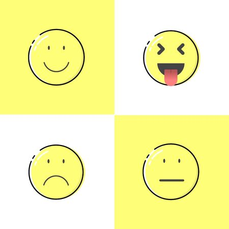 Slightly Smiling Face Emoticon, Squinting Face with Tongue Emoticon, Frowning Face Emoticon, Neutral Face Emoticon. Good for your design, poster, sticker, clothes design, social media post