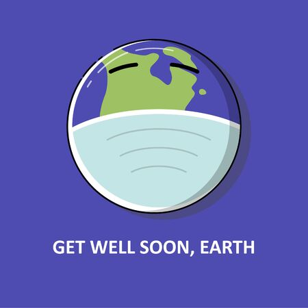 Earth using surgery mask to protecting him from coronavirus. Get well son earth, get well soon world. Good for poster, clothes design, social media post Stock Illustratie