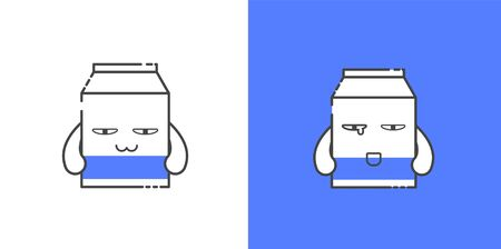 Cute milk carton character with many expression like excited, hungry, cry, and tempting. Good for vector, icon, sign, symbol, social media, etc.
