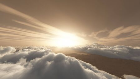 A computer generated image of a cloud top view staring into the sun Stock Photo