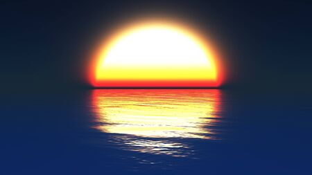 A computer generated image of a grafic representation of the sun setting into a calm ocean Stock Photo