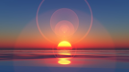 ocean view: aComputer generated image of the sun setting into still water