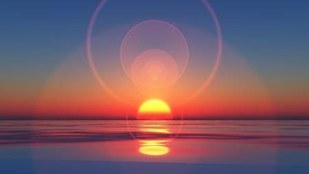 """wschód słońca: aComputer generowane obrazu z ustawieniem sÅ'oÅ""""ca do wody"""