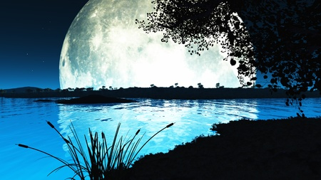 nightime: Computer generated landscape of an impossibly large moon backlighting the scene and throwing everything into silhouette Stock Photo