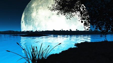 the moonlight: Paisaje de una luna Imposiblemente grande retroiluminaci�n la escena y arrojando todo silueta generadas por computadora