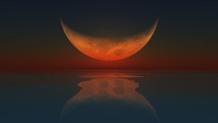 A computer generated image of the moon reflected in a calm ocean photo