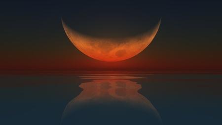 computer generated image: Un computer generated immagine della Luna riflettuta in un oceano calmo Archivio Fotografico