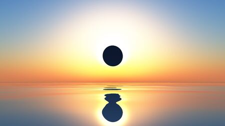 A computer generated image of an eclipse of the sun over a calm ocean Stock Photo