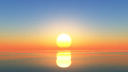 Computer generated image of the setting sun melting into the ocean