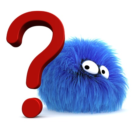 Furbul CG character next to a large question mark. Stock Photo - 10589504