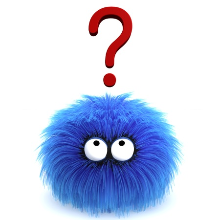 Furbul CG character with a question mark hovering above his head.