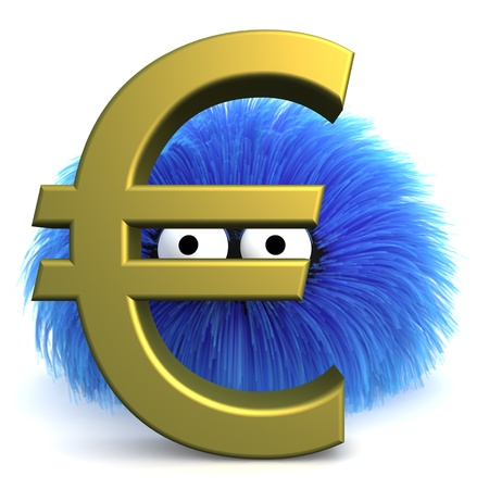 furbul CG character standing behind a large Euro sign.  Stock Photo