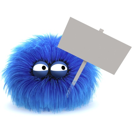 Furbul CG character protesting with a blank sign Stock Photo