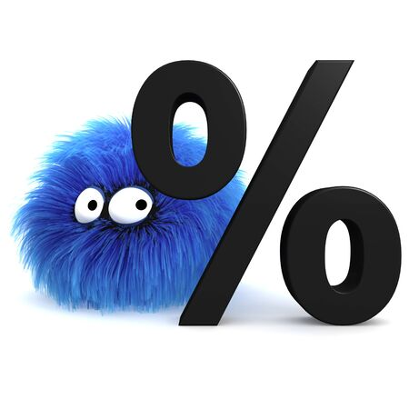 Furbul CG character standing behind a large percentage sign  Stock Photo