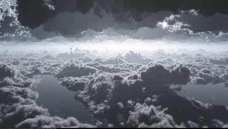 A computer generated image of dramatic clouds