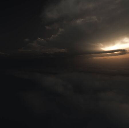 Computer generated image of dark clouds with dawns early light breaking through