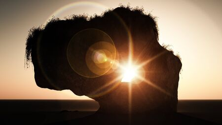 Computer generated image of a large rock with the sun revealed through a hole in its centre Stock Photo