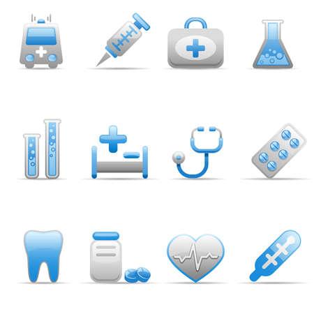 Ensemble d'icônes sur un thème de la médecine.