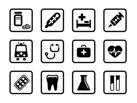 prick: Set of icons on a medicine theme.