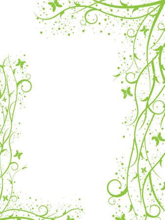 green leaves border: Abstract green spring-summer border with butterflies