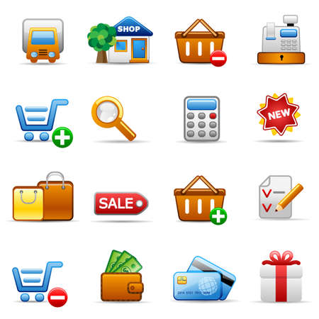cart cash: Set of icons on an shopping theme. Illustration