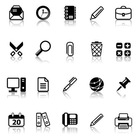 subtract: Set of icons on an office theme.