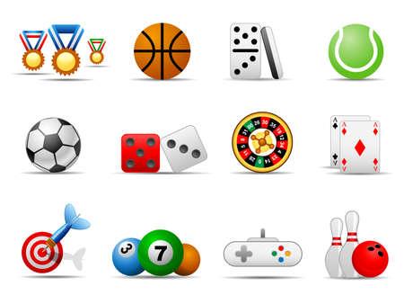 intentie: Set van pictogrammen op een thema spel Stock Illustratie