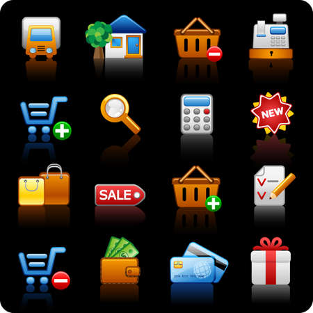cash register building: Set of icons on a theme shopping_black background