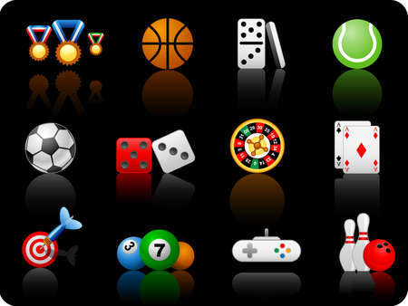 dominoes: Set of icons on a theme game_black background