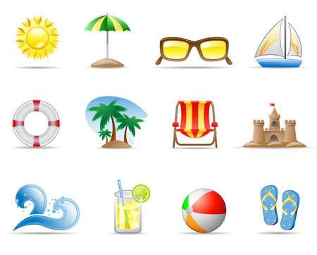 Set of icons on a theme Sun Sea and Beach Vector