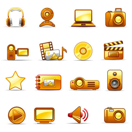 Set of icons on a theme Photo and Video_orange Vector