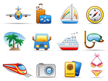 Set of icons on a theme Travel Иллюстрация