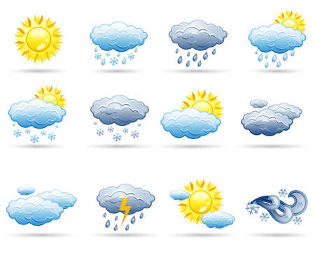 blizzards: Set of icons on a theme Weather
