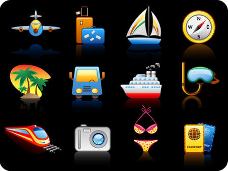 patch of light: Set of icons on a theme Travel_black background