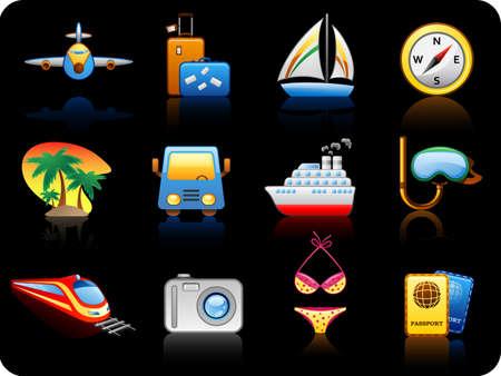 steamship: Set van pictogrammen op een thema Travel_black achtergrond