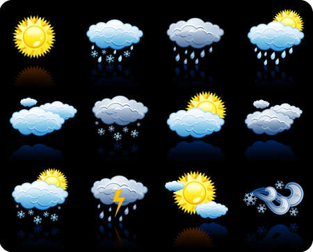 Set of icons on a theme Weather_black background Stock Vector - 5532698