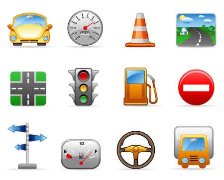 fork road: Icono de conjunto sobre un tema de transporte y seguridad vial