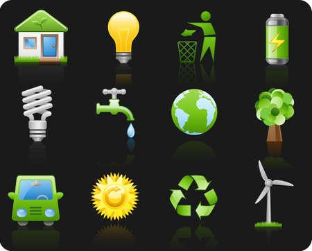 Icon set on a theme Environment_black background