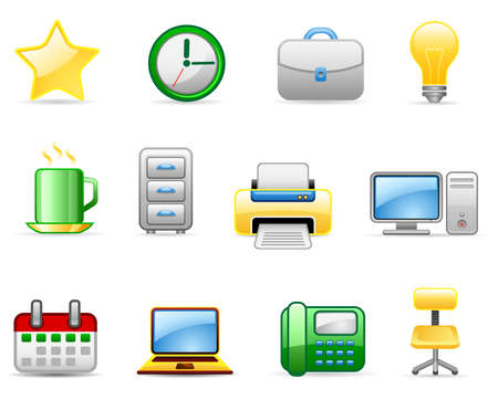 Set of icons on an office 5 theme. Vector