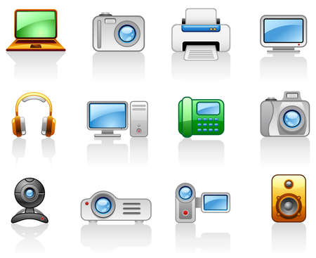 printers: Set of icons on a theme Electronics_Computers_ Multimedia  Illustration